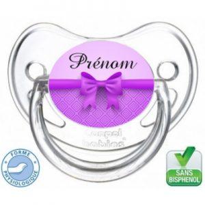 tétine bébé prénom noeud violet